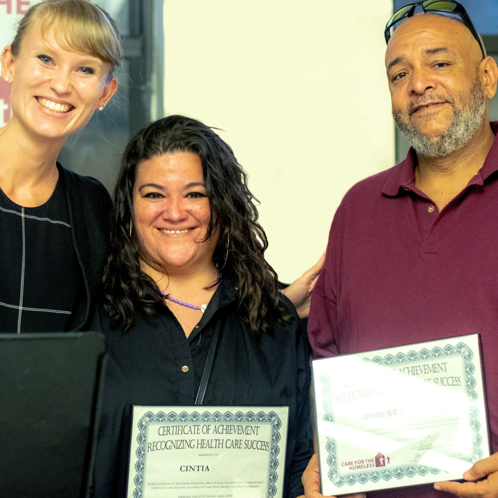 CFH NP Sophie with Summer Solstice honorees Cintia and Robert.
